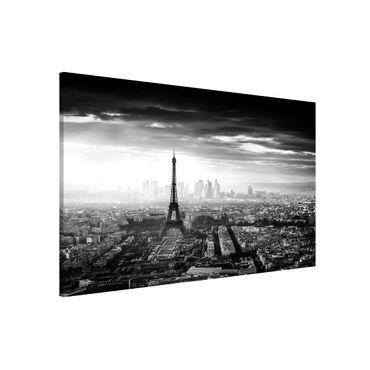 Magnettafel - Der Eiffelturm von Oben Schwarz-weiß - Memoboard Querformat 2:3