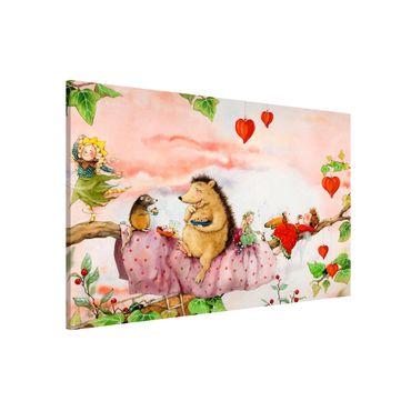 Magnettafel - Erdbeerinchen Erdbeerfee - Auf dem Ast - Memoboard Querformat