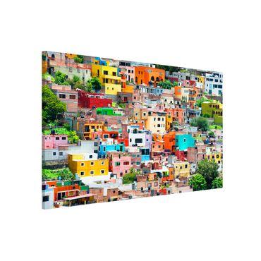 Magnettafel - Farbige Häuserfront Guanajuato - Memoboard Panorama Hoch