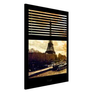 Magnettafel - Fensterausblick Jalousie - Paris Eiffelturm Sonnenuntergang - Memoboard Hoch