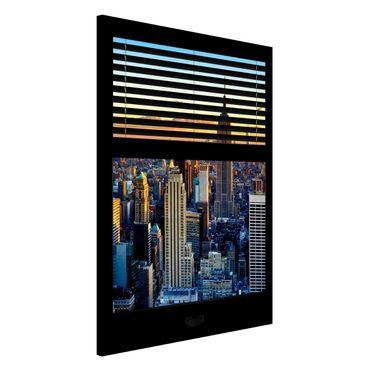 Magnettafel - Fensterausblick Jalousie - Sonnenaufgang New York - Memoboard Hoch