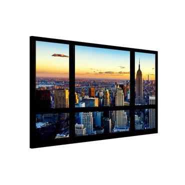 Magnettafel - Fensterausblick - Sonnenaufgang New York - Memoboard Quer