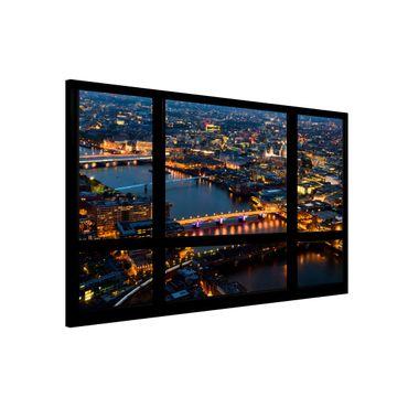 Magnettafel - Fensterblick auf Londons Skyline mit Brücken - Memoboard Quer