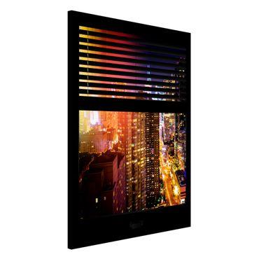 Magnettafel - Fensterblick Jalousie - Manhattan bei Nacht - Memoboard Hoch