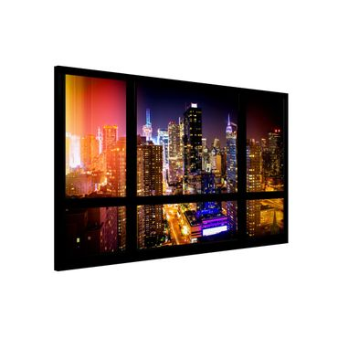 Magnettafel - Fensterblick Manhattan bei Nacht - Memoboard Quer