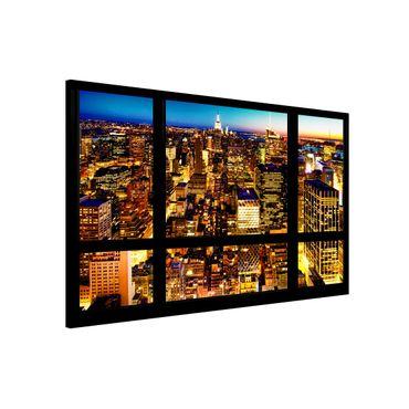 Magnettafel - Fensterblick New York bei Nacht - Memoboard Quer