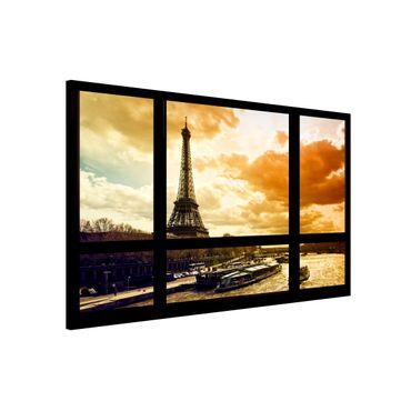 Magnettafel - Fensterblick - Paris Eiffelturm Sonnenuntergang - Memoboard Quer