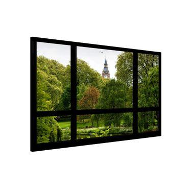 Magnettafel - Fensterblick über St. James Park auf Big Ben - Memoboard Quer