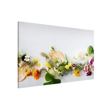 Magnettafel - Frische Kräuter mit Essblüten - Memoboard Panorama Querformat