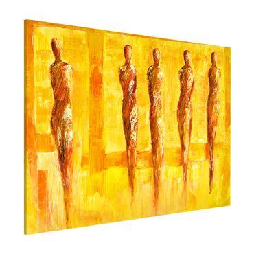 Magnettafel - Petra Schüßler - Fünf Figuren in Gelb - Memoboard Querformat