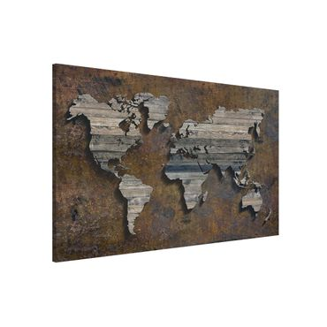 Magnettafel - Holz Rost Weltkarte - Memoboard Querformat