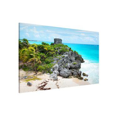 Magnettafel - Karibikküste Tulum Ruinen - Memoboard Panorama Quer