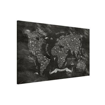 Magnettafel - Kreide Typografie Weltkarte - Memoboard Panorama Querformat