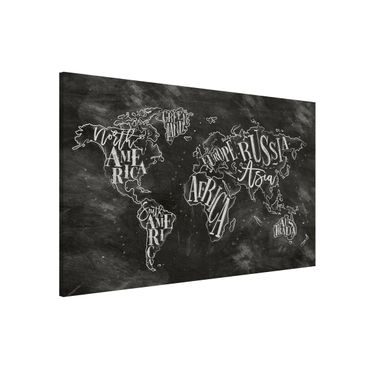 Magnettafel - Kreide Weltkarte - Memoboard Querformat