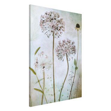 Magnettafel - Lauchblüten in Pastell - Memoboard Hochformat 3:2