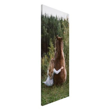 Magnettafel - Mädchen mit Braunbär - Memoboard Panorama Hochformat 2:1