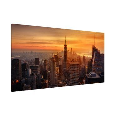 Magnettafel - Manhattan Skyline Abendstimmung - Memoboard Panorama Querformat 1:2
