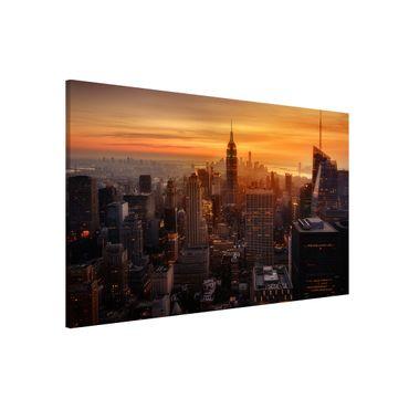 Magnettafel - Manhattan Skyline Abendstimmung - Memoboard Querformat 2:3