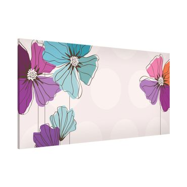 Magnettafel - Mohn in Pastell - Memoboard Panorama Quer