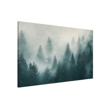 Magnettafel - Nadelwald im Nebel - Memoboard Querformat