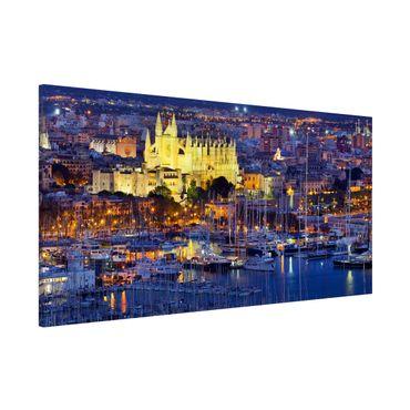 Magnettafel - Palma de Mallorca City Skyline und Hafen - Memoboard Panorama Quer