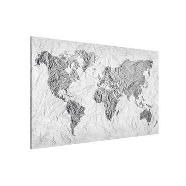 Magnettafel - Papier Weltkarte Weiß Grau - Memoboard Querformat
