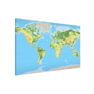 Magnettafel - Physische Weltkarte - Memoboard Querformat