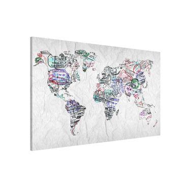 Magnettafel - Reisepass Stempel Weltkarte - Memoboard Querformat