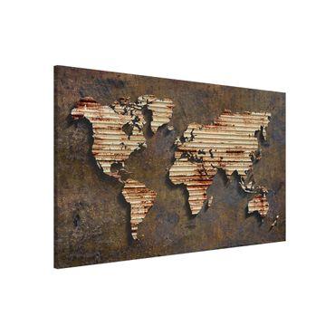 Magnettafel - Rost Weltkarte - Memoboard Querformat