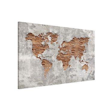 Magnettafel - Shabby Beton Backstein Weltkarte - Memoboard Querformat