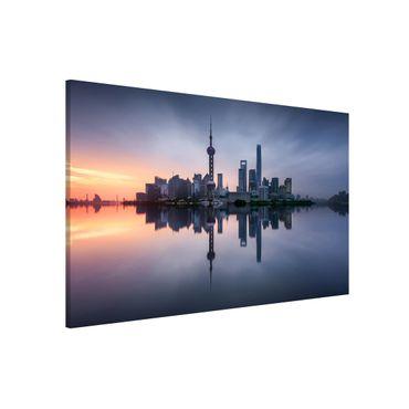 Magnettafel - Shanghai Skyline Morgenstimmung - Memoboard Querformat 2:3