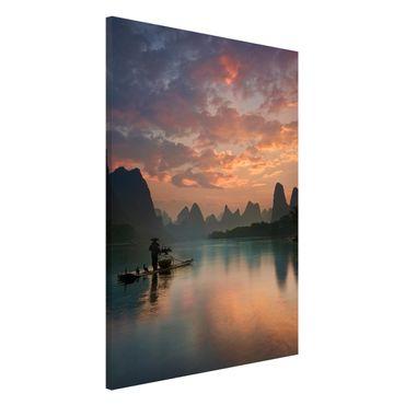 Magnettafel - Sonnenaufgang über chinesischem Fluss - Memoboard Hochformat 3:2