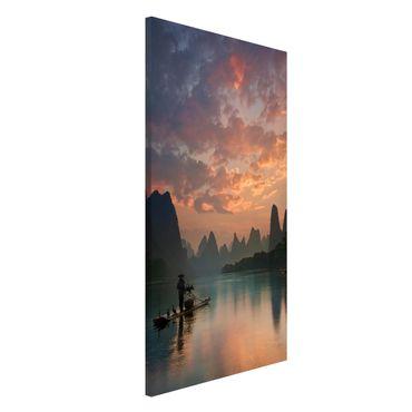 Magnettafel - Sonnenaufgang über chinesischem Fluss - Memoboard Hochformat 4:3
