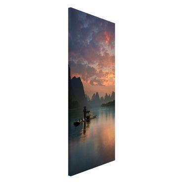 Magnettafel - Sonnenaufgang über chinesischem Fluss - Memoboard Panorama Hochformat 2:1