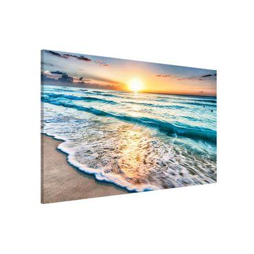 Magnettafel - Sonnenuntergang am Strand - Memoboard Querformat