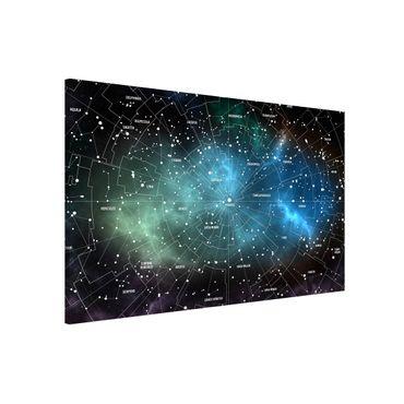 Magnettafel - Sternbilder Karte Galaxienebel - Memoboard Querformat