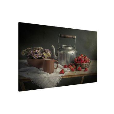 Magnettafel - Stillleben mit Erdbeeren - Memoboard Quer