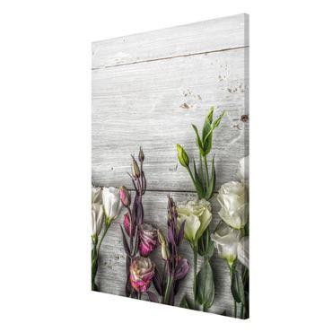 Magnettafel - Tulpen-Rose Shabby Holzoptik - Memoboard Panorama Hoch