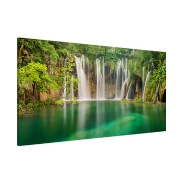 Magnettafel - Wasserfall Plitvicer Seen - Memoboard Panorama Querformat