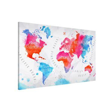 Magnettafel - Weltkarte Aquarell rot blau - Memoboard Querformat