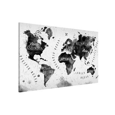Magnettafel - Weltkarte Aquarell schwarz - Memoboard Querformat