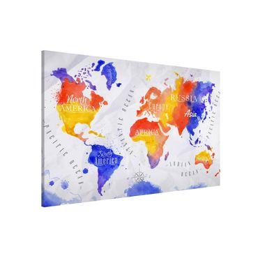 Magnettafel - Weltkarte Aquarell violett rot gelb - Memoboard Querformat