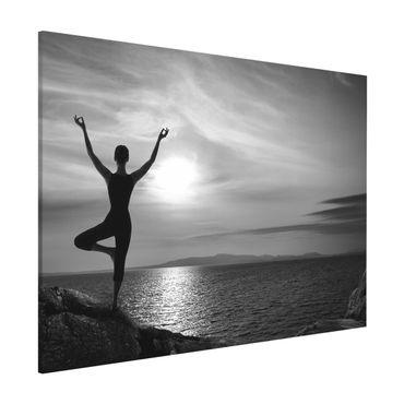 Magnettafel - Yoga schwarz weiss - Memoboard Quer