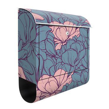 Briefkasten - Magnolien Blütenmeer Altrosa und Petrol
