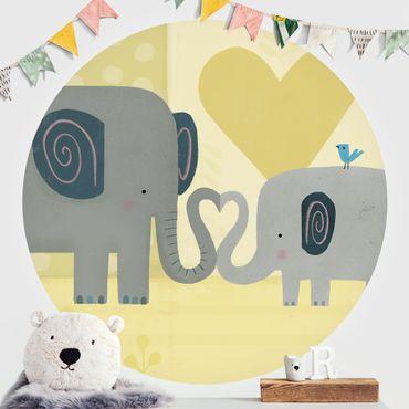 Runde Tapete selbstklebend - Mama und ich - Elefanten