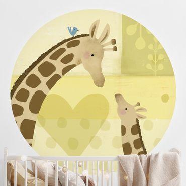 Runde Tapete selbstklebend - Mama und ich - Giraffen