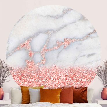 Runde Tapete selbstklebend - Mamoroptik mit Rosa Konfetti