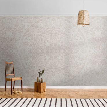 Metallic Tapete  - Mandala Aquarell Muster Ornament beige