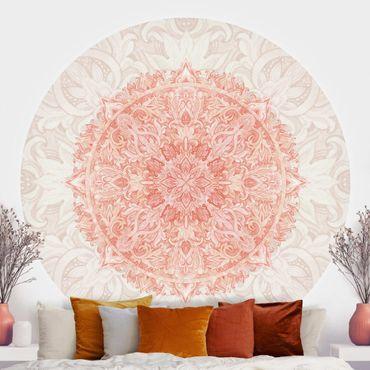 Runde Tapete selbstklebend - Mandala Aquarell Ornament beige orange