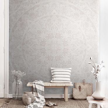 Metallic Tapete  - Mandala Aquarell Ornament beige